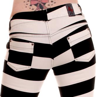 kalhoty dámské 3RDAND56th - Jail Stripe Skinny - Black/Wht