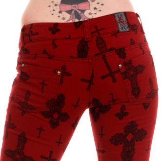 kalhoty dámské 3RDAND56th - Cross Skinny Jeans - Burgundy - JM1163