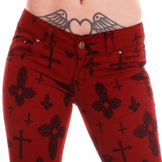 kalhoty dámské 3RDAND56th - Cross Skinny Jeans - Burgundy