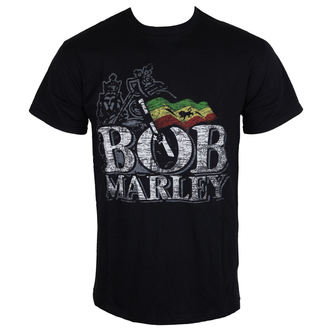 tričko pánské Bob Marley - Distressed Logo - Black - ROCK OFF, ROCK OFF, Bob Marley
