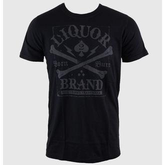 tričko pánské LIQUOR BRAND - Crossbones - Black - 237