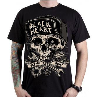 tričko pánské BLACK HEART - GARAGE BUILT - BLACK, BLACK HEART