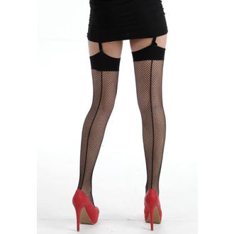 nadkolenka PAMELA MANN - Fishnet Seamed Stockings - Black, PAMELA MANN