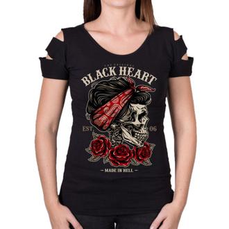tričko dámské BLACK HEART - PIN UP SKULL DESTROY - BLACK - 010-0159-BLK