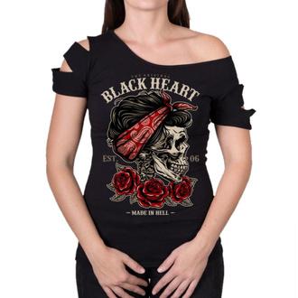tričko dámské BLACK HEART - PIN UP SKULL DESTROY - BLACK, BLACK HEART