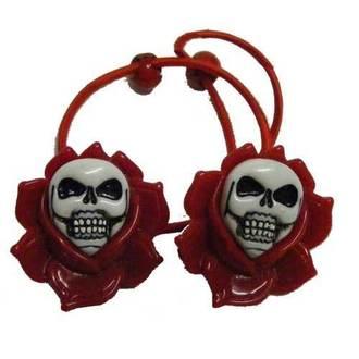 gumička do vlasů KREEPSVILLE SIX SIX SIX - Skull Rose - Red, KREEPSVILLE SIX SIX SIX