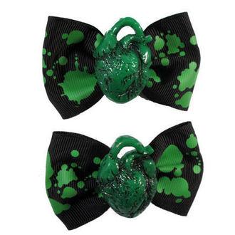 sponky KREEPSVILLE SIX SIX SIX - Hair Bow Heart - Green, KREEPSVILLE SIX SIX SIX