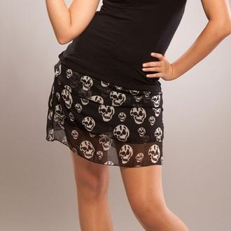 sukně dámská POIZEN INDUSTRIES - Skull - Black, POIZEN INDUSTRIES
