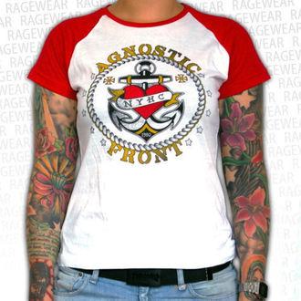 tričko dámské Agnostic Front - Anchor - Red/White - RAGEWEAR, RAGEWEAR, Agnostic Front