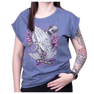 tričko dámské BLACK HEART - HOLLY HAND VINTAGE BLUE EXT - BLUE, BLACK HEART