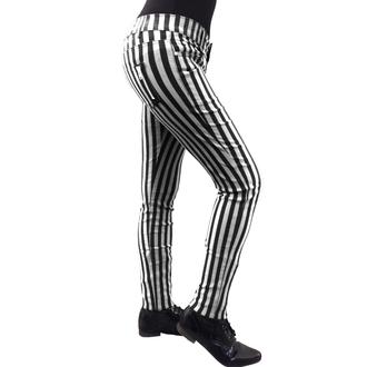 kalhoty dámské BANNED - Stripe Skinny - White