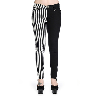 kalhoty BANNED - Striped Trousers - Half Black/Half White