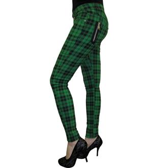 kalhoty dámské BANNED - Check Skinny - Green