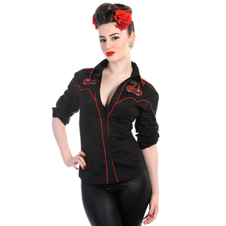 košile dámská s dlouhým rukávem BANNED - Cherry Skulls - Black - WBN1504BL