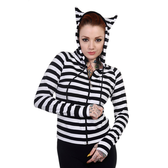 mikina dámská BANNED - Cat Ears White Striped, BANNED