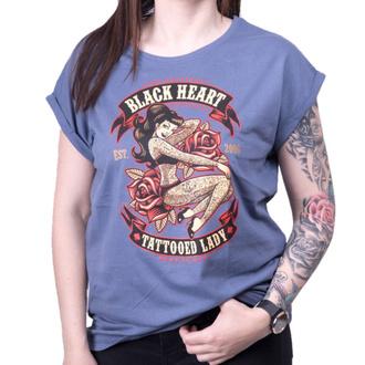 tričko dámské BLACK HEART - TATTOED LADY EXT - BLUE, BLACK HEART