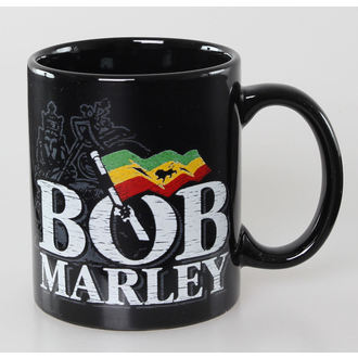 hrnek Bob Marley - Distressed Logo - Black - ROCK OFF, ROCK OFF, Bob Marley