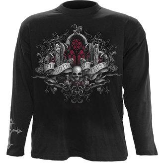 tričko pánské s dlouhým rukávem SPIRAL - IN GOTH WE TRUST - BLK