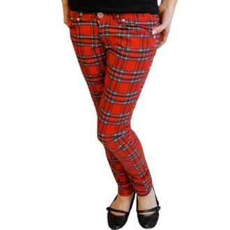 kalhoty dámské HELL BUNNY - TARTAN PRINTED TROUSERS - 5123 - TAR Red