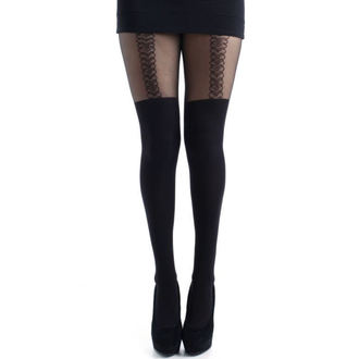 punčocháče PAMELA MANN - Outline Heart Suspender Tights - Black - PM113