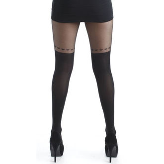 punčocháče PAMELA MANN - Over The Knee Hearts Tights - Black