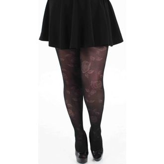 punčocháče PAMELA MANN - Rose Sheer Floral Tights - Black - 078