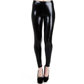legíny PAMELA MANN - Wet Look Leggings - Black