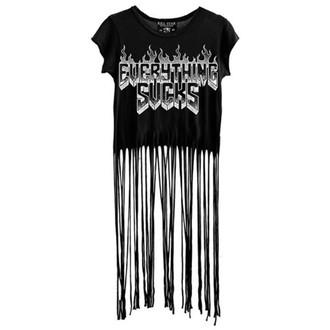 tričko dámské (top) KILLSTAR - Everything Sucks Fringe - Black