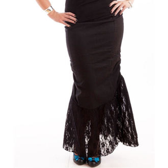sukně dámská NECESSARY EVIL - Nepthys Lace and Twill Fishtail - Black, NECESSARY EVIL