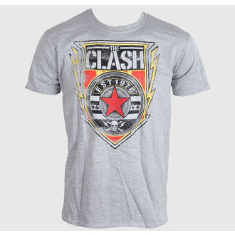 tričko pánské The Clash - Shield 1976 - Heather Grey, LIVE NATION, Clash