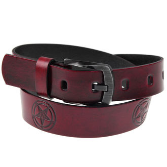 pásek PENTAGRAM - Red, JM LEATHER