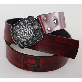 pásek SKULL - Red, JM LEATHER