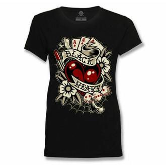 tričko dámské BLACK HEART - ROCKABILLY HEART - BLACK, BLACK HEART
