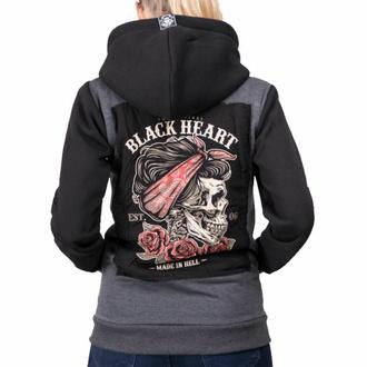 mikina dámská BLACK HEART - PIN UP SKULL - GREY, BLACK HEART