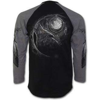 tričko pánské s dlouhým rukávem SPIRAL - Wolf Dreams - Charcoal Black - T035M314