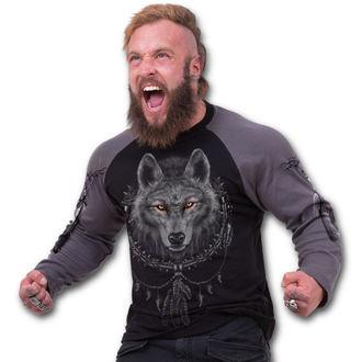 tričko pánské s dlouhým rukávem SPIRAL - Wolf Dreams - Charcoal Black