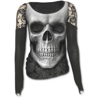 tričko dámské s dlouhým rukávem SPIRAL - Solemn Skull - Black
