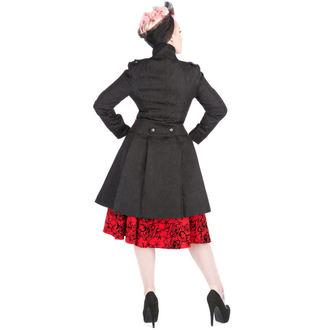 kabát dámský HEARTS AND ROSES - Black Brocade Trench, HEARTS AND ROSES