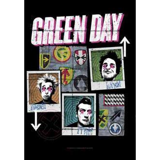 vlajka Green Day - Uno-Dos-Tre, HEART ROCK, Green Day