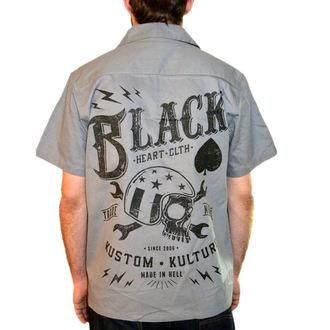 košile pánská BLACK HEART - Wrench Skull - Grey - BH113