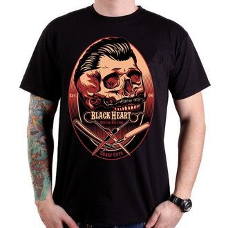 tričko pánské BLACK HEART - Barber Skull - Black - 001-0032-BLK
