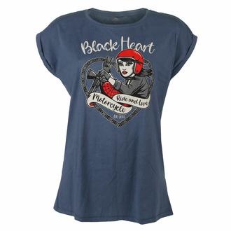 tričko dámské BLACK HEART - BIKE GIRL - BLUE - 9271