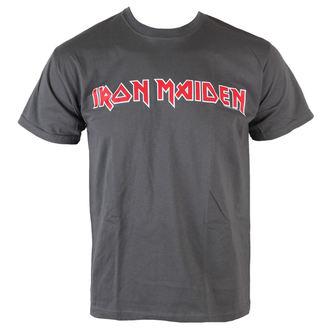 tričko pánské Iron Maiden - Classic Logo - Charcoal - ROCK OFF, ROCK OFF, Iron Maiden