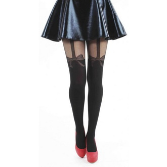 punčocháče PAMELA MANN - Bow Suspender - Scallop Edge - Black