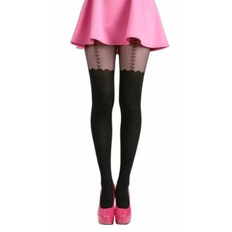 punčocháče PAMELA MANN - Net Bow Suspender - Black, PAMELA MANN