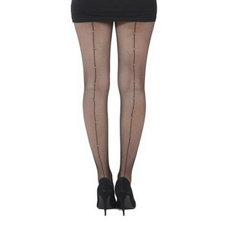 punčocháče PAMELA MANN - Fishnet Seamed Tights Black With Diamante Seam - Black, PAMELA MANN