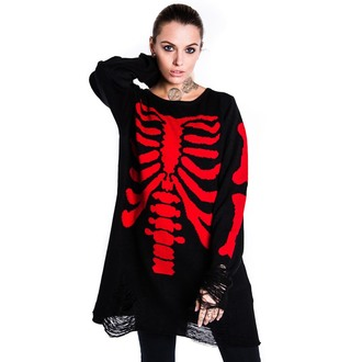 svetr (unisex) KILLSTAR - Skeletor - Red, KILLSTAR