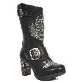 boty NEW ROCK - NEGRO BORDADOS GRIS, NEW ROCK