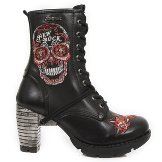 boty NEW ROCK - BORDADOS ROJO - NEGRO