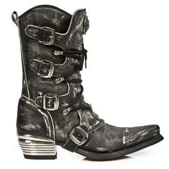 boty  NEW ROCK - WEST NEGRO ACERO VINTAGE RASPADO, NEW ROCK